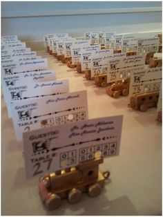 Awesome idea!!  train ticket & wooden train escort cards