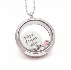 Breast Cancer Awareness/ Survivor Living Locket, Memory Locket, Floating Charm Locket