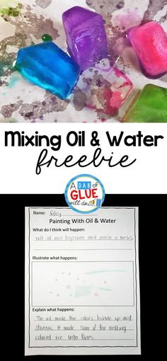 Science meets are in this simple to setup mixing oil and water experiment. Add this simple science experiment to your preschool or kindergarten classroom! If you have kids that LOVE creating with STEAM activities, this is the kids activity for you. First Grade Freebies, Kindergarten Freebies, Kindergarten Science, Kindergarten Classroom, Classroom Ideas, Science Classroom, Preschool Learning, Art Classroom, Steam Activities