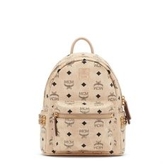 MCM Mini Stark Side Odeon Studded Backpack In Beige