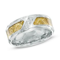 Men's 1/10 CT. T.W. Diamond Comfort Fit Two-Tone Stainless Steel Wedding Ring - Size 10