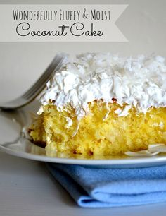 A must try! Wonderfully Fluffy & Moist Coconut Cake. This is my new cake standard. And it's adapted from a box cake mix.