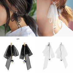 Fashion Jewelry Korean Style Ribbon Lace Bow Tie Tassel Beads Dangle Earrings   eBay