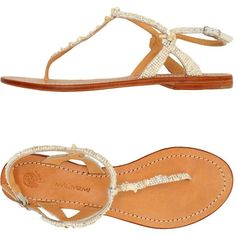 Malìparmi Toe Post Sandal ($110) ❤ liked on Polyvore featuring shoes, sandals, white, white flat sandals, toe thongs, beaded sandals, white flat shoes and flat thong sandals