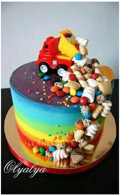 4th Birthday Cakes For Boys, Baby Boy Birthday Cake, Truck Birthday Cakes, Candy Birthday Cakes, Candy Cakes, Dump Truck Cakes, Cupcakes, Cupcake Cakes, Little Boy Cakes