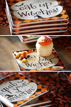 Cast a spell over your Halloween gathering with this amusing set of appetizer plates from Pier 1. Wicked phrases paired with a bold harlequin print backdrop deliver a fun approach to the spookiest of holidays. How bewitching.