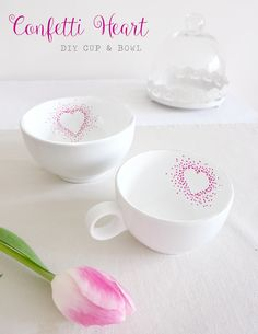 { Herzliches } DIY: Confetti-Heart Tassen selber bemalen ❤ His and Her Cup!