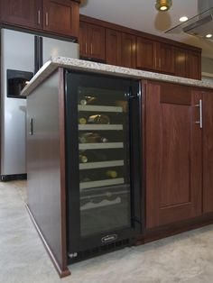 Built-in wine cooler in the kitchen island; Kitchen by Case Design Kitchen Reno, Kitchen Remodel, Kitchen Cabinets, Kitchen Appliances, Island Kitchen, Kitchen Ideas, Kitchens, Best Wine Coolers, Built In Wine Cooler