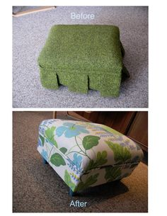 Olive Drab to Bright and Happy:  My own tutorial on how to re-upholster an ottoman!
