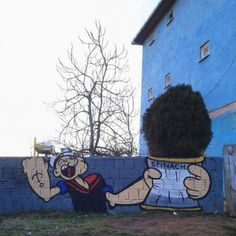 """""""Is there an illustration that fits better with this fence?"""" Praised Turkish street art: Laba Q – Graffiti World Images Graffiti, Street Art Graffiti, Popeye Le Marin, Illusion Kunst, Urbane Kunst, Popeye The Sailor Man, Image Blog, Amazing Street Art, Street Artists"""