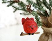 How cute is this... Cardinal Christmas Ornament Tree Decoration, Red Needle Felt Bird Holiday Decorating Woodland Tree Nest Waldorf Cute Unique Eco Friendly