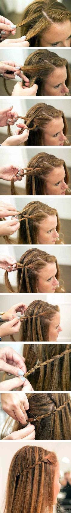 The Waterfall #Braid Tutorial – Step by Step. I need to learn how to do this. I love it so much.