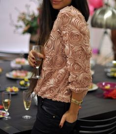 Rose top with leather pants ~ cocktail party perfect!