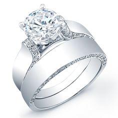 1.22 Carat round cut diamond engagement ring & band SI H (GRA)