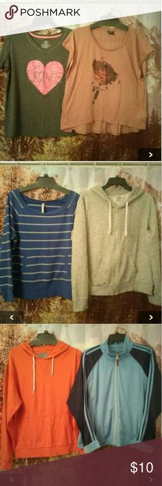 Clothing Lot Shirt no brand sz. XL/15-17 Shirt insight sz.8 Sweat shirt Old navy sz.XL fit more L Zipped hoodie divided H&M sz.L Hoodie Old navy sz. M fit L Sport top zipper on a front Oleg Cassini sz. PXL fits L Buttoned shirt The arrow company sz. M fit L Some fadding and stains overall a lot of life left Tops