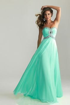 Shop 2013 Prom Dresses A Line Floor length Green Sweetheart Chiffon Rhinestone & gowns inexpensive, formal & vogue party dresses boutique online.