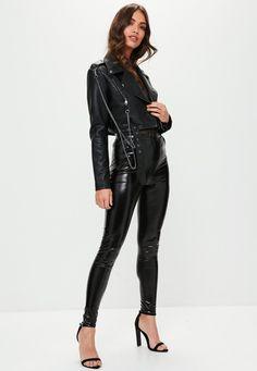 Missguided - Black Super Cropped Biker Jacket