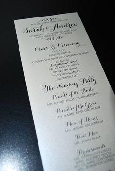 Esh i really like these....wedding program