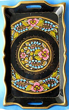 Tole Tray Hand Painted Wood Black Floral Antique