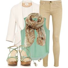 teal shirt white jacket khaki pants heel wedge