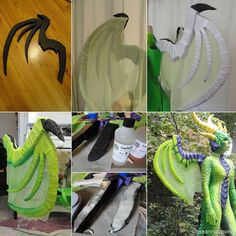 Dragon wings made out of polyethylene foam by Breanna Cooke, Artist. Wings are covered with white lycra fabric (same fabric as body suit). Fabric is dyed with Jaquard dye. The wing posts are coated with EasyFlo 60 resin from BITY Mold Supply to give more rigidity.