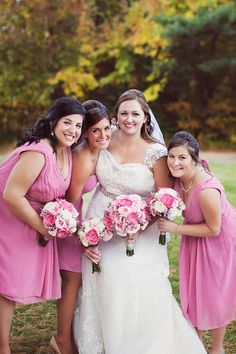 Pink and white bride's bouquet and bridesmaid bouquets.