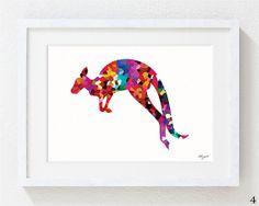 Size A5. Colorful Kangaroo Silhouette, Minimalist art, Geometric Art Prints, Wall Decor art print. Available in 4 unique Designs
