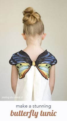 Add a beautiful woven butterfly to any shirt or tunic with this tutorial. Perfect for a costume or for every day.Add a beautiful woven butterfly to any shirt or tunic with this tutorial. Perfect for a costume or for every day. Fashion Kids, Diy Fashion, Cheap Fashion, Fashion Clothes, Diy Clothing, Sewing Clothes, Little Girl Dresses, Girls Dresses, Butterfly Top