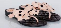 Тапочки Chanel черные с бантом, новая модель #19223