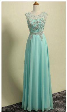 Long Mint Green Chiffon Formal Dresses Showcases Lace #prom #promdress #dress #eveningdress #evening #fashion #love #shopping #art #dress #women #mermaid #SEXY #SexyGirl #PromDresses