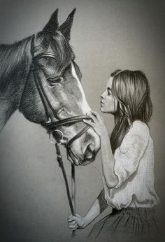 Girl Drawing Sketches, Girly Drawings, Horse Drawings, Cool Art Drawings, Amazing Drawings, Pencil Art Drawings, Realistic Drawings, Animal Drawings, Foto Cowgirl