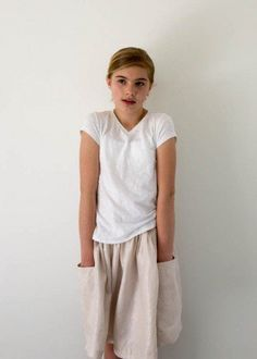 Gathered Skirt for All Ages in Mineral Linen   Purl Soho