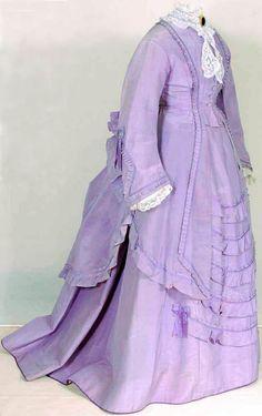 Dress, ca. 1870-75. Silk and cotton. Mode Museum