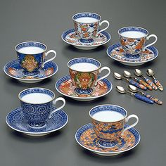 Set Of Cups And Plates 伊万里六撰 碗皿・スプーン 源右衛門窯