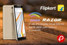 """Flipkart is offering #SwipeRazorMobile #4G #VoLTE at Rs.4999 Only. 7"""" HD IPS Display, Dual Sim 4G, 3000mAh Battery. 1 GB RAM, 8 GB ROM, 2 MP Primary Camera 