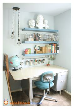 I love every single thing about this room: darth vader and einstein busts, display storage, colors, hexagon shelves, flashcard border... be still my heart!!