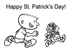 A Kid Chasing Tiny Leprechaun On St Patricks Day Coloring Page - Download & Print Online Coloring Pages for Free | Color Nimbus Online Coloring Pages, Leprechaun, Free Coloring, Coloring Sheets, St Patricks Day, Saints, Happy, Kids, Young Children