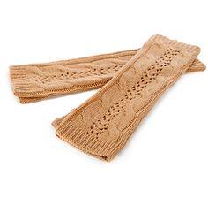 Wayne Clark Cable Knit Fingerless Gloves - CAMEL