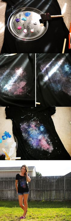 Galaxy Shirt | Cute Top Design Ideas for Teens by DIY Ready at  diyready.com/diy-clothes-sewing-blouses-tutorial/