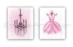 Girls room decor, Pink Ballet Dress, Chandelier Wall Art, Baby Girl Nursery, SET 2, Pink, Shabby chic nursery, French, Girl Nursery wall art