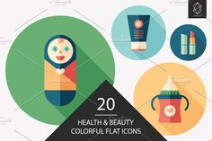 Health and beauty flat icon set. #flaticons #vectoricons #flatdesign