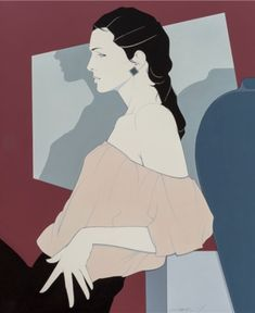 1980's Fashion and style, Patrick Nagel (1945-1984), Female in Profile, Acrylic on canvas.