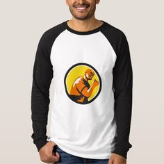 Man Fist Pump Low Angle Retro T-shirt. Illustration of a man fist pump looking to the side viewed from low angle set inside circle done in retro style. #Illustration #ManFistPump