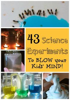 43 Science experiments for kids that will blow their minds! Simple to set up science experiments for preschoolers and young children that are simply awesome. Build on that natural curiosity!