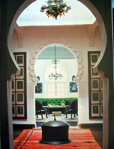 Designer Alberto Pinto's masterful work in Marrakech Morocco.  Such beautiful Moroccan arches & balanced composition. If you like Moroccan decorating, check out my book, Marrakesh by Design. http://www.amazon.com/Marrakesh-Design-Maryam-Montague/dp/1579654010/ref=sr_1_3?s=books=UTF8=1322772271=1-3