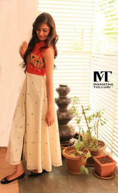 Looking how to protect yourself from the summer with style? Own this fuss free easy chic look stimulating attire available at Mamatha Tulluri's, The Designer Studio Dress Indian Style, Indian Dresses, Indian Outfits, Pakistani Outfits, Salwar Designs, Blouse Designs, Dress Designs, Casual Summer Dresses, Simple Dresses