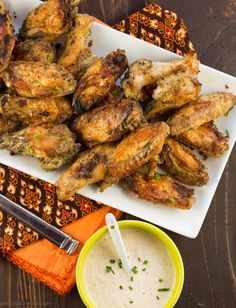 Perfect for the Super Bowl!  Ranch Chipotle Chicken Wings - Garnish with Lemon