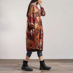 Women spring loose long sleeve cotton dress – Buykud
