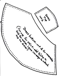 """This pattern is for a dress which can be reversible or not. Cut two straps about 6"""" long and attach them to top. Sew side edges with right sides together on top, insert the straps with end of strap just a little past the edge. Stitch top. Turn right side out and press. Stitch skirt right sides together,leaving top edge open. Turn right side out and press. Press the top of skirt edge to inside 1/4"""". Center top of dress to skirt, place bottom edge of top inside skirt, stitch. Put snap on back."""