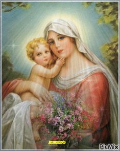 When bearing Baby Jesus in her arms, Our Lady thought of the cross to which He was to be nailed~Liguori Jesus And Mary Pictures, Catholic Pictures, Mary And Jesus, Blessed Mother Mary, Divine Mother, Blessed Virgin Mary, Religious Images, Religious Icons, Religious Art